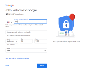 Gmail Phone number verification page