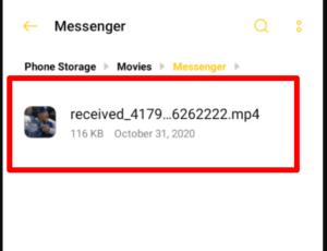 default Facebook messenger video download path