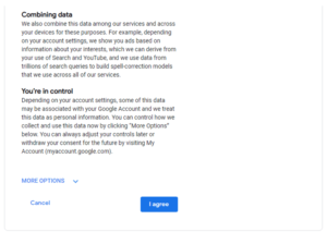 Google Account terms and conditions page