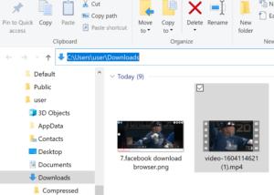 Saved video storage location on computer