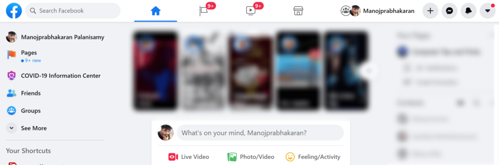 Open the Facebook on Browser window