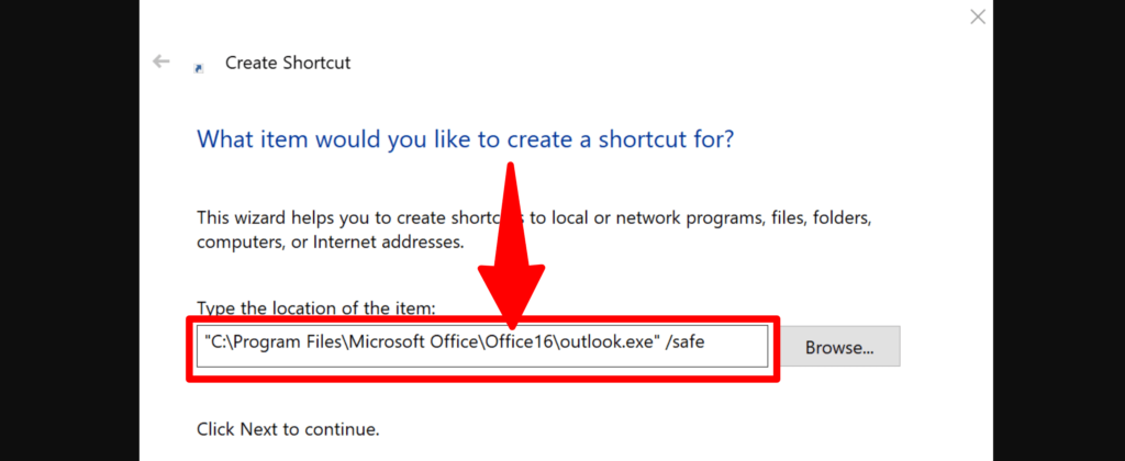 Outlook Safe Mode command