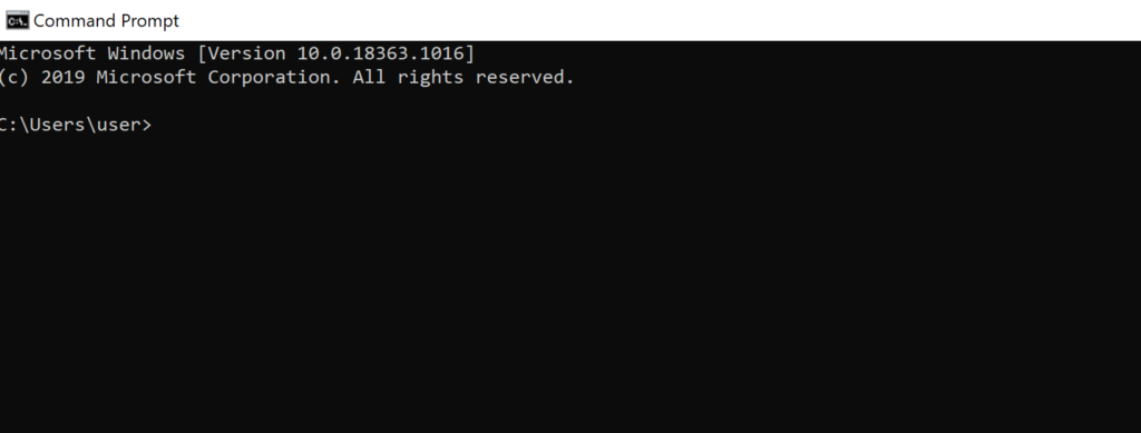 Open the command prompt in windows system