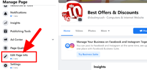 Edit page info option on Facebook page