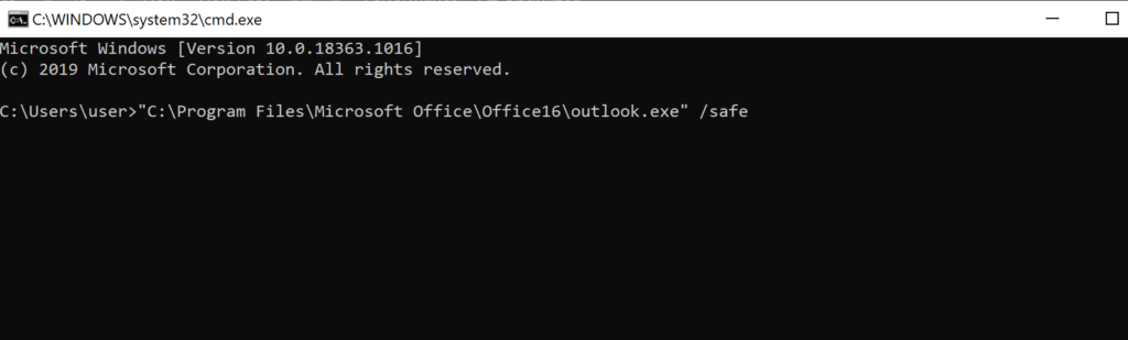 Command prompt command for safe mode