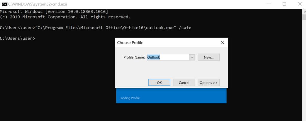 Outlook profile screen