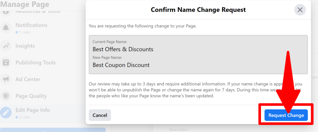 Confirm the name change using request change option
