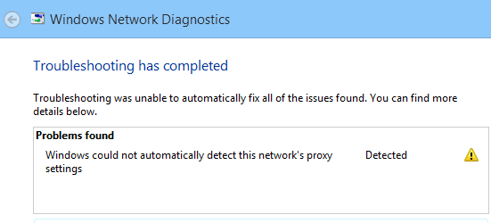 Windows could not automatically detect proxy setting error dialogue box