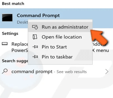command prompt run as adminstrator