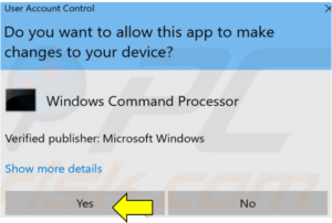 user account popup asking control permission