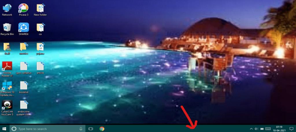 right click on the windows-10 taskbar