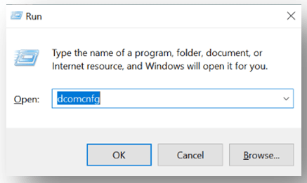 Run the command for dcomcnfg