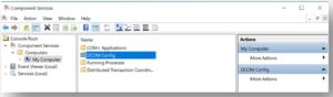 Navigate Component Services – My Computer – DCOM config