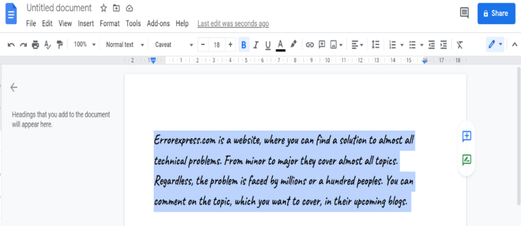 Select the paragraph lines /highlight the text indent areas in google docs