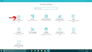 click on system option in windows 10
