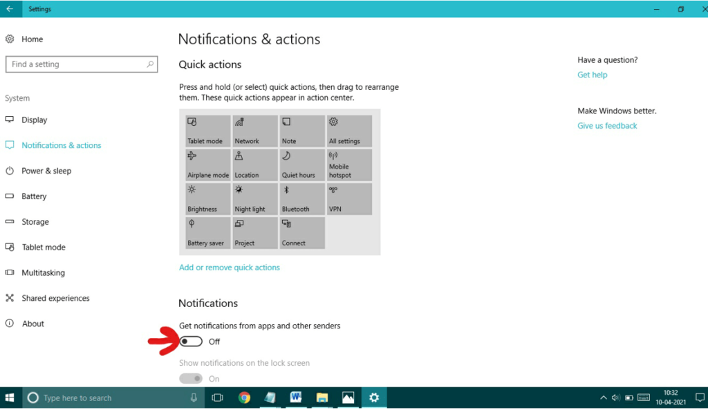 Turn off 'Get notifications from apps and other senders'