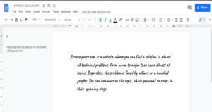 The final text indent google document