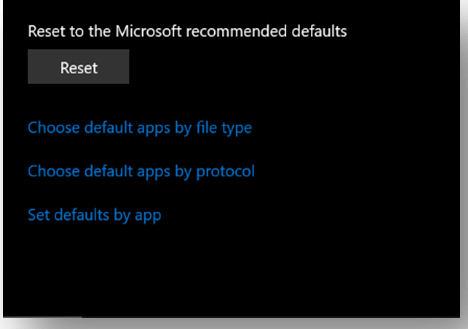 Reset the default windows applications