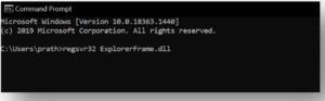 Execute the regsvr32 ExplorerFrame.dll command