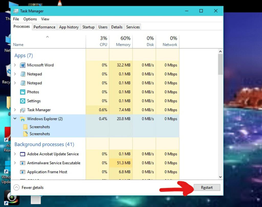 Restart the file explorer