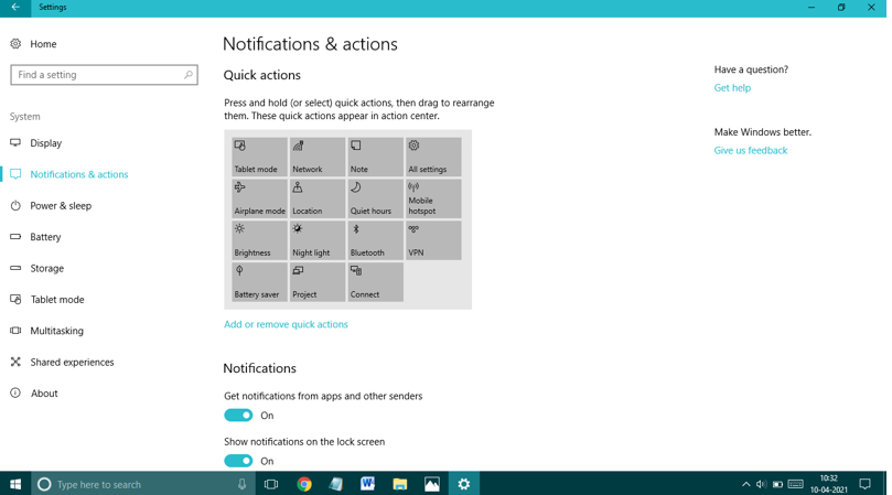 click on notifications and actions option