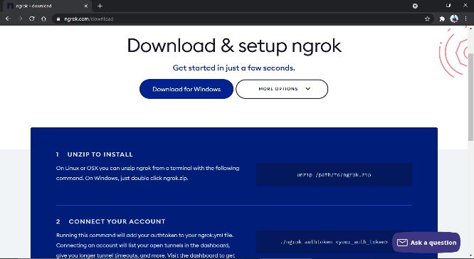 Download and Setup ngrok page