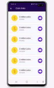 Screenshot of app giving coins