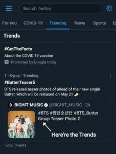 Screenshot of Trend TAB