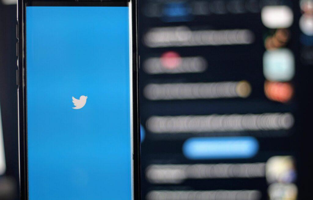 Twitter logo in mobile app