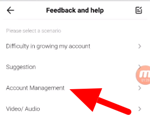 Tap on account management to remove your phone number on TikTok