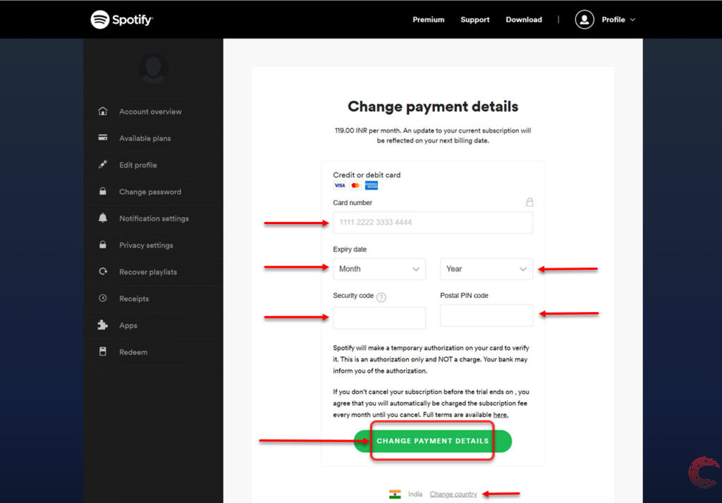 5th Step- Click update and change the payment method