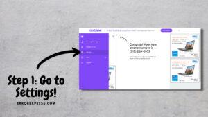Step 1 - Go to settings to delete TextNow account