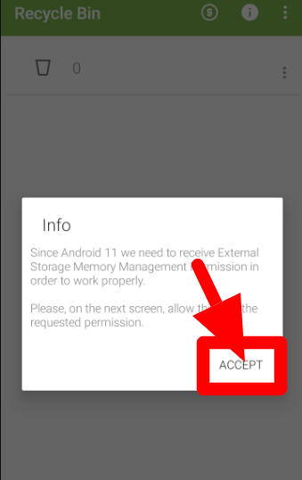 Recycle Bin Info Accept Link