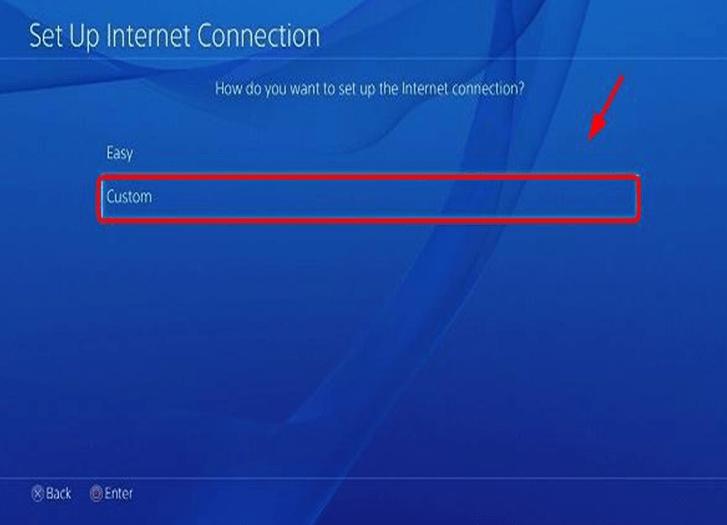 "Image shows to select setup internet connection ""custom"" option"