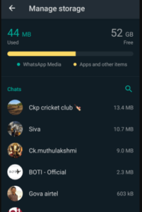 Storage consume data's and contact list