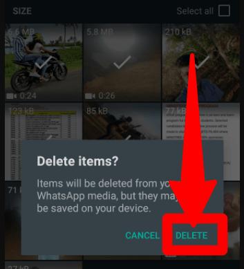 Whatsapp Media Delete Confirmation Dialogue Box
