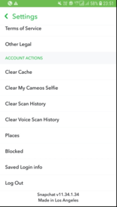 Account Actions Option on SnapChat Account