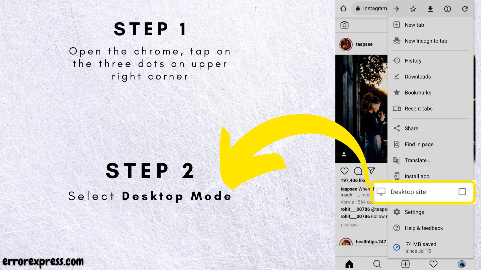 Go to instagram.com on chrome and turn on desktop mode