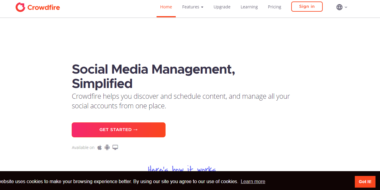 Visit the crowdfire.com website. this is the crowdfire homepage