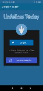 UnFollow Today Twitter App Login Button