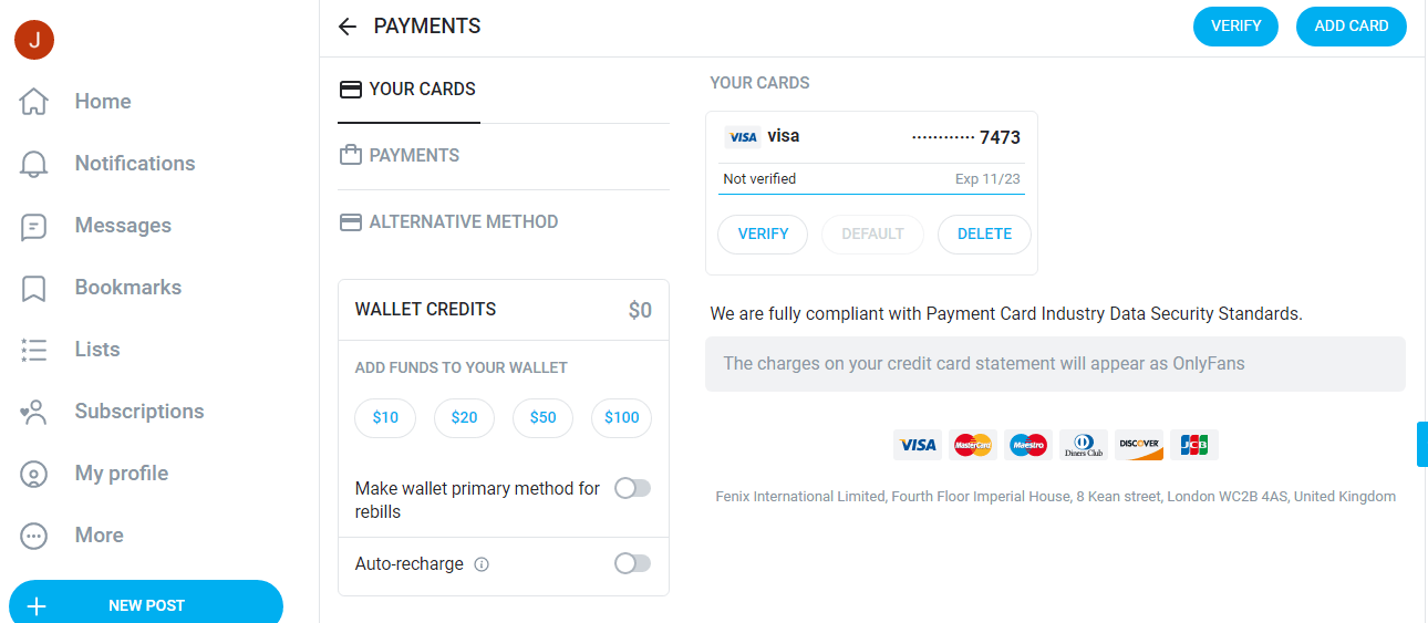 """From this card linked page, click the """"DELETE"""" button and remove your card"""