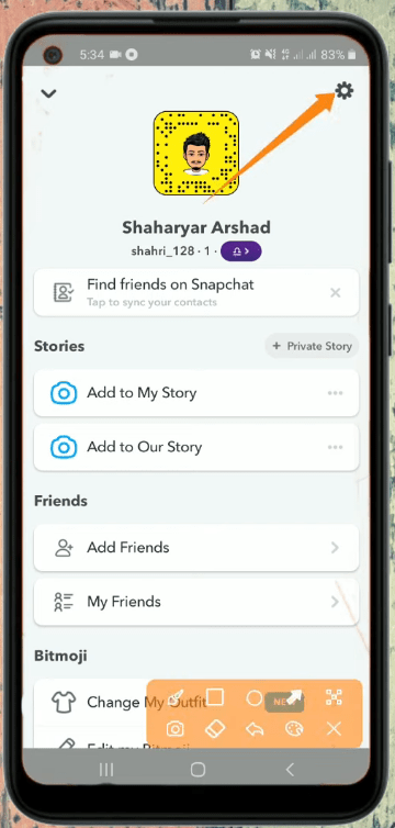 Snapchat Settings or Gear Icon Screen