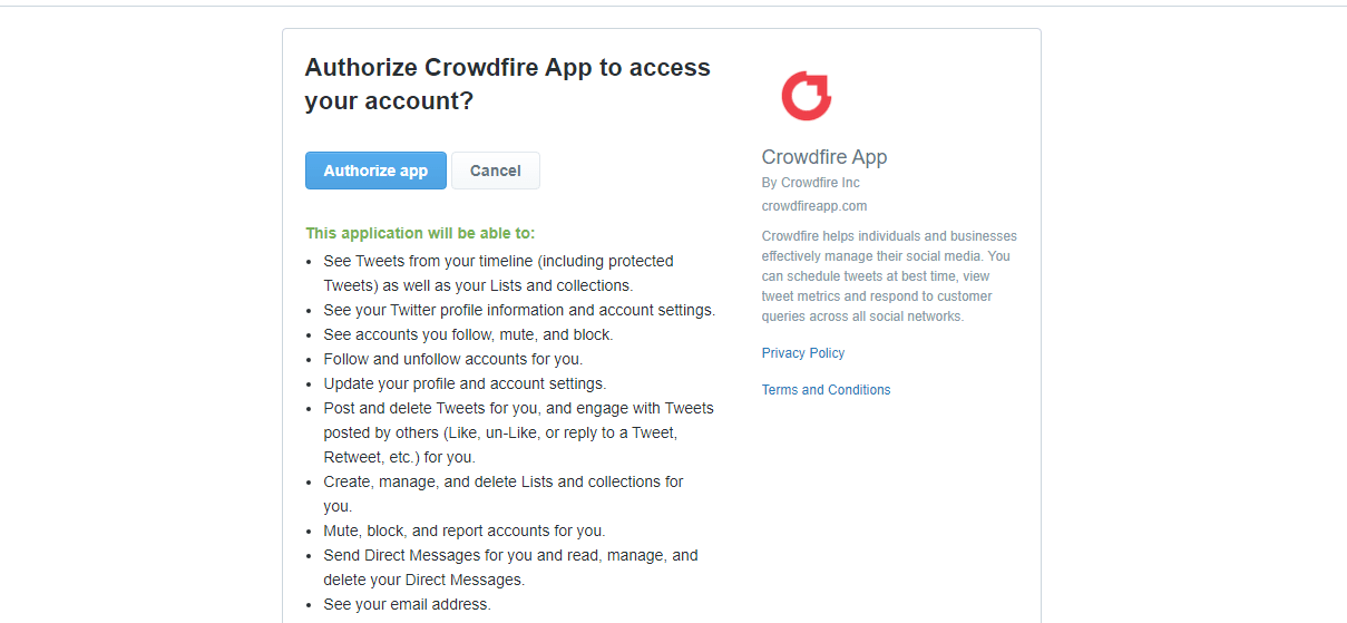Twitter Authorization App Page Screen