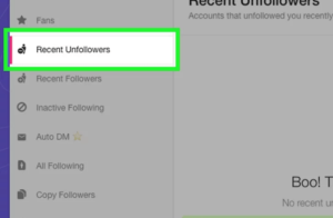 Recent Unfollowers Button. Here see the who unfollowed you on Twitter