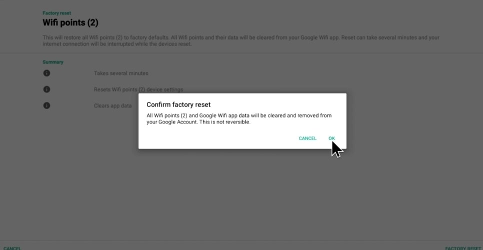 Click ok the Confirmation Factory Reset Prompt