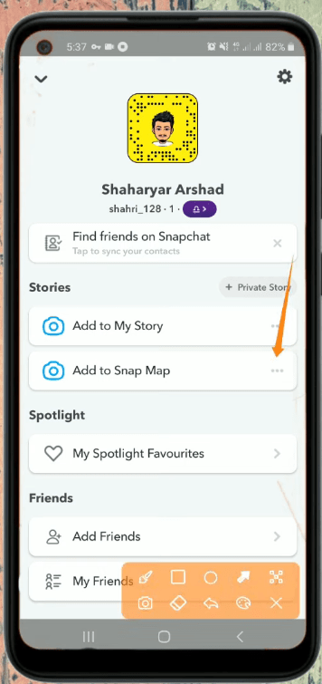 Add to Snap Map Three Dotted Icon Screen in Snapchat