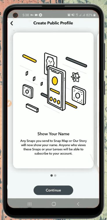 Create Public Profile Screen