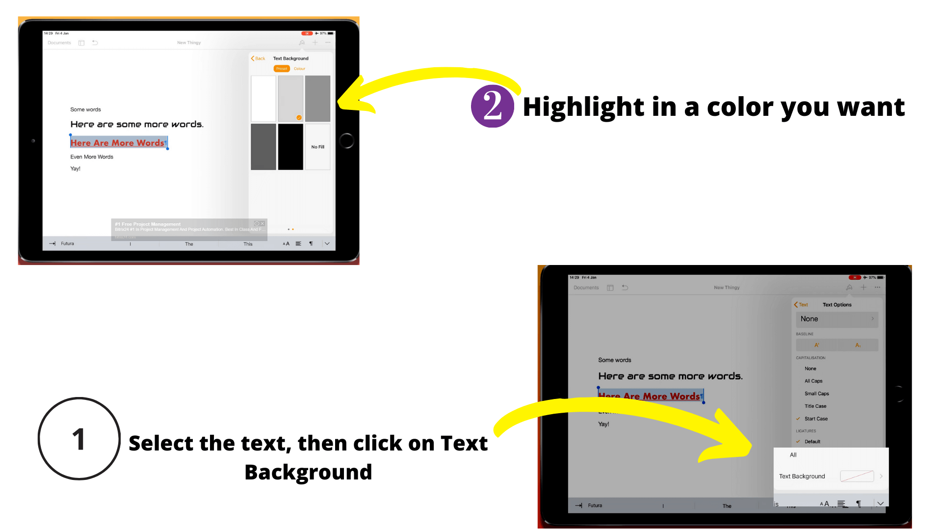 This how you can highlight in pages on iPhone