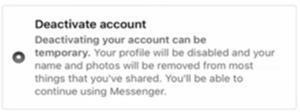 Deactivate Account Popup Screen
