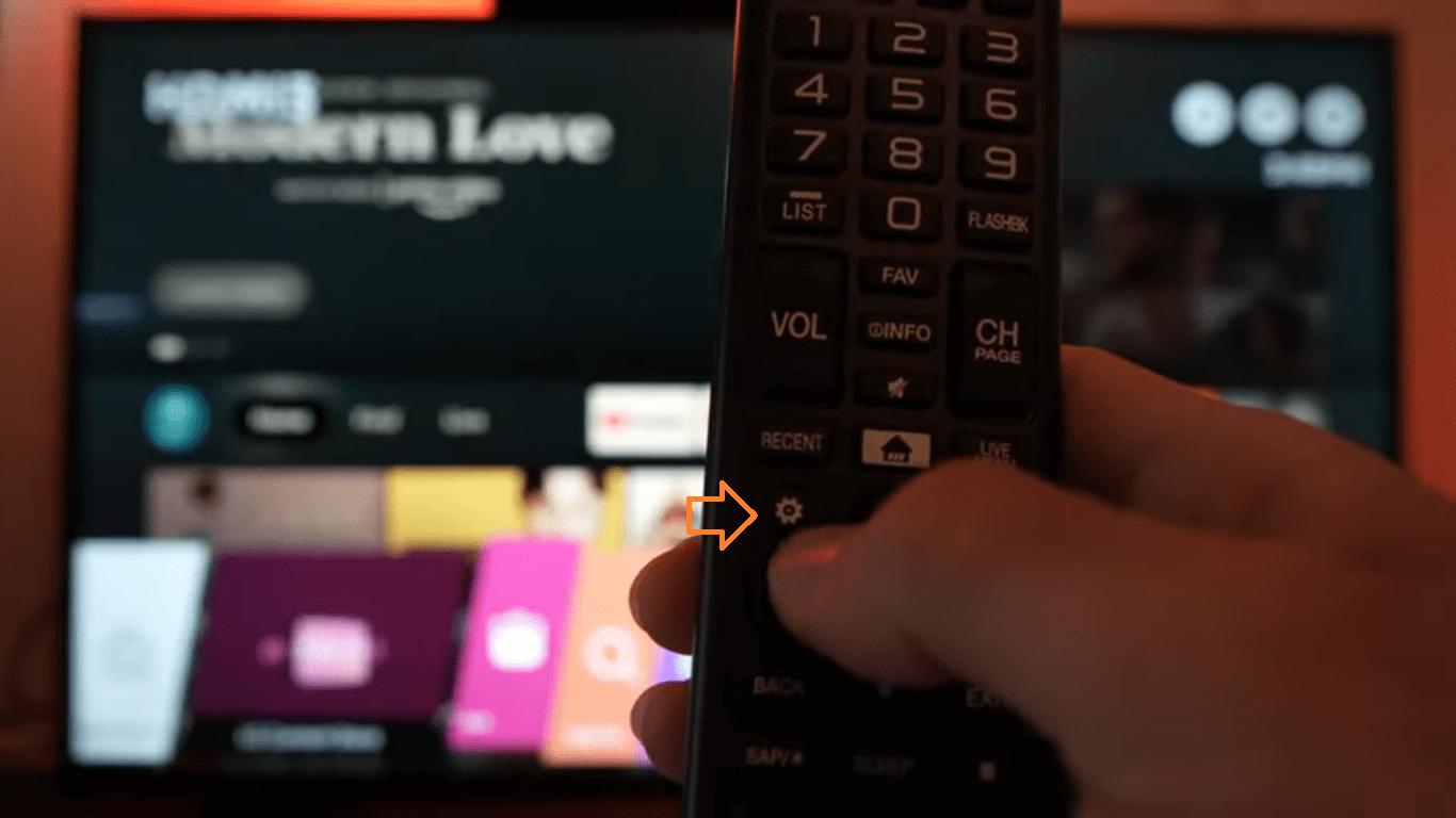 Gear settings Icon on LG Smart TV Screen